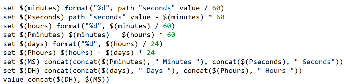 using rules how do i convert seconds to days hours and minutes itrs
