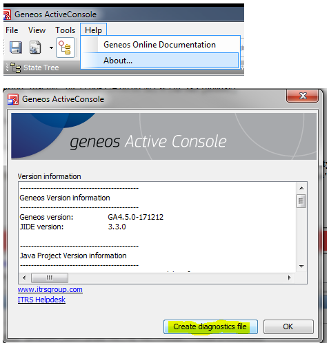 How do I create a diagnostics file from the Active Console